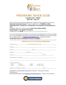 Westshore Track Club Registration One Page FINAL
